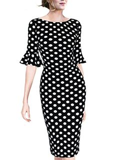 VfEmage Women Elegant Flare Sleeve Polka Dot Vintage Work Bodycon Dress - Black and Beige Print 12 Plus Size Maxi Dresses, Short Sleeve Dresses, Lace Dress Black, Black Polka Dot Dress, Dress Lace, Dress Red, White Lace, Black White, Very Short Dress