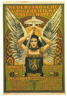 artnouveaustyle:  robotcosmonaut:  Nederlandse Gasgloeilicht Maatschappij, 1897  Artist is Johann Georg van Caspel