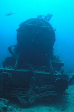 Abandoned train under water... Not sure why, but this has a bit of a Knight Bus buzz for me...
