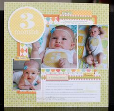 I documented my baby's first year by keeping the monthly onesie sticker and using it on each monthly layout. I used papers from the same Stampin Up line to keep colors consistent along each layout.