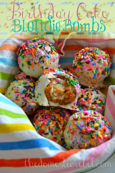 Birthday Cake Blondie Bombs will be your family's new favorite treat! Cake pops covered in brown sugary blondies, then coated in white chocolate and tons of sprinkles.