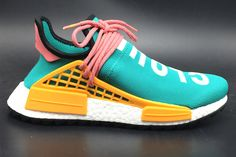 Pharrell Williams and Adidas Originals teamed up to build Human Race NMD Hu with personality publicity of the upper text and originated from the NMD fashion modeling, circle powder countless! New Human Race NMD Hu will bring a new upgraded Trail ve Human Race Shoes, Adidas Human Race, Human Race Nmd, Adidas Girls Shoes, Adidas Boots, Nike Shoes, Shoes Sneakers, Sneakers Fashion, Fashion Shoes