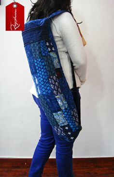 Patchwork #YogaBag - Zippered Fitness Bag - Exercise Mat Bag - #CottonYogaBag - #Etsy store etsy.me/1zFs9ga