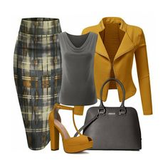 Mustard And Gray Fashion Outfits, Womens Fashion, Work Fashion, Fashion Trends, Classy Outfits, Casual Outfits, Cute Outfits, Office Skirt, Office Dresses
