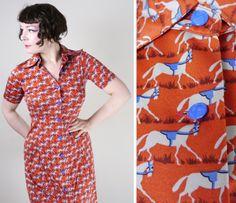 KEN SCOTT by Onward HORSE print equestrian dress in burnt orange - button through front - 1970s vintage novelty print uk10 / S / Small