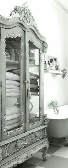 Beautiful armoire for towel storage-