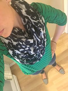 Green and blue striped Breton top, blue/white scarf, jcrew earrings, striped shoes