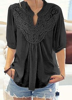 Solid Black Lace Panel Half Sleeve Blouse on sale only US$29.69 now, buy cheap Solid Black Lace Panel Half Sleeve Blouse at liligal.com   #liligal #blouse #shirts #top #womenswear #womensfashion