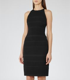 Womens Black Racer-back Bodycon Dress - Reiss Maddy