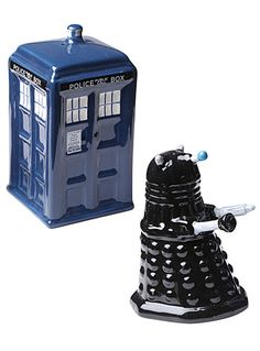 I Need These In MY LIFE!!! Tardis & Dalek Salt & Pepper Shakers by The Unemployed Philosophers Guild, Blue
