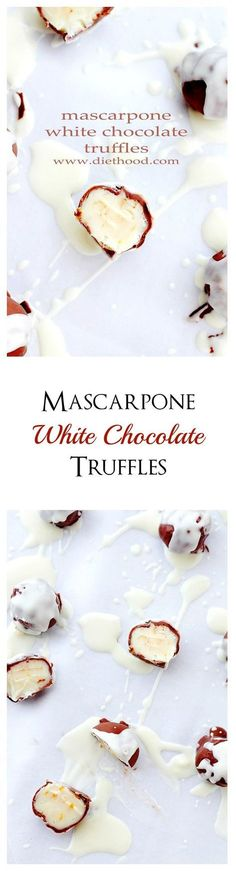Sweet and creamy chocolate truffles made with a silky mixture of white chocolate and mascarpone cheese.