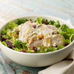 Roast turkey salad at Panera - All-natural, antibiotic-free roasted turkey, field greens, romaine lettuce, our wheatberry and pistachio blend and Gorgonzola cheese, tossed in our maple balsamic vinaigrette.- Visit PaneraBread.com for more inspiration.