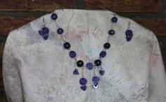 ketting met oorbellen, blauw/paarse kralen van fimo klei