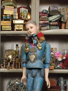 "#S269 37"" Blue Santos Mannequin on Stand, Paper Mache Composite 400.00"