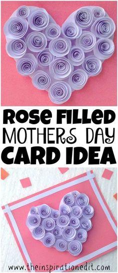 Rose Filled Mothers Day Card mothers day card idea #mothersday #mothersdaycard #cardmaking #papercraft #papercrafting #paperquilling #paper #craftideas #artandcrafts #giftformom #mothers #flowers #flowercraft #flowerpapercraft
