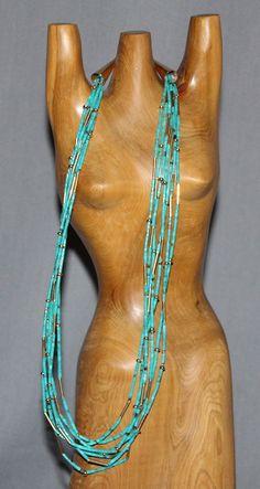 $1500 7 Strand Turquoise Heishi & 14 K Gold Necklace, Jewelry by   Santo Domingo