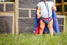 Crazy cute super hero photo shoot! love chunky baby knees!