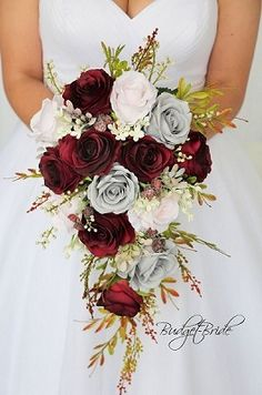 Wine, Grey and Blush wedding flower cascading brides bouquet. Wedding Flowers with greenery // rustic, organic, fall, autumn . Cascading Wedding Bouquets, Cascade Bouquet, Fall Wedding Bouquets, Bride Bouquets, Flower Bouquet Wedding, Flower Bouquets, Blush Bouquet, Artificial Bridal Bouquets, Burgundy Bouquet