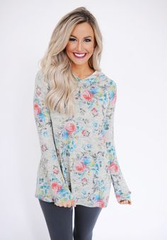 Grey Floral/Lace Hooded Tunic - Dottie Couture Boutique