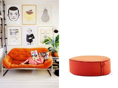 Orange ottoman from 'Product & Place' - inspiring interiors, matched with the Lujo pieces we'd love to see living there!  See them all here: http://www.lujo.co.nz/blogs/lujo-inspiration-blog/14296609-product-place