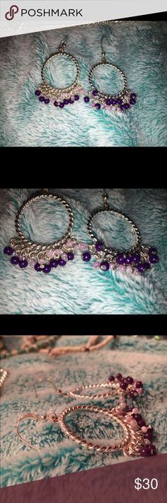 Purple + silver earrings Brand new without tags from Dress Barn. Offers are welcome 🙂 Dress Barn Jewelry Earrings