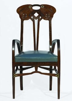 Eugenio Quarti (1867-1929) - Arm Chair. Carved Indain Rosewood with Silver, Brass & Glass and Upholstered Seat. Designed & Built for the 1906 Esposizione Universale di Milano. Milan, Italy. Circa 1906.