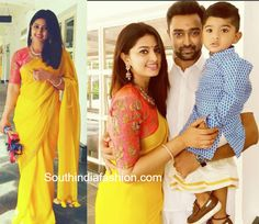 Sneha Prasanna celebrated Diwali wearing a bright yellow plain saree paired with contrast pink high neck embroidered blouse. Indian Designer Outfits, Indian Outfits, Sneha Saree, Divas, Diwali Outfits, Yellow Clothes, India Fashion, Women's Fashion, Yellow Saree