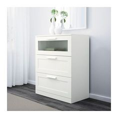 "BRIMNES 3-drawer chest - white/frosted glass, 30 3/4x37 3/8 "" - IKEA"