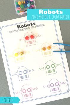 Robots Color Matching and fine motor skills activity! Autism Preschool, Preschool Math Games, Fine Motor Activities For Kids, Motor Skills Activities, Free Preschool, Preschool Crafts, Preschool Activities, Robot Theme, Book Crafts