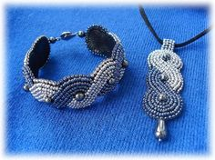 bead embroidered pendant and bracelet