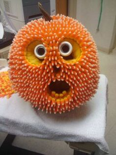 halloween pumpkin decorating contest at work that took a lot of hot glue and candy - Pumpkins Decorations