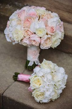 bride and bridesmaid rose and hydrangea bouquet and posy by serendipity leeds
