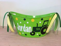 Personalized oval tub - Tractor or other design, Easter basket, gift basket, name or monogram, polka dots, baby gift basket