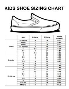 Sizing Chart for shoes for the shoeboxes