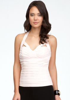 Cutout Shirred Halter Top