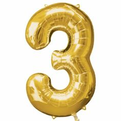 Number Giant Gold Balloons - Three from Australia's Party Balloons Shop. Helium Number Balloons, Large Number Balloons, One Balloon, Mylar Balloons, Latex Balloons, Number Balloons Birthday, Party City Balloons, Balloon Party, Black And Gold Balloons