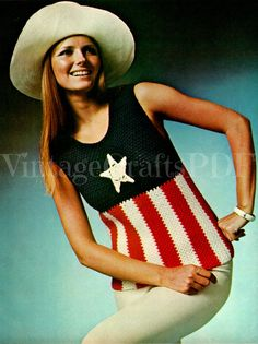Crochet PATTERN Vintage 1970s American Star Patriot Ladies Top for Summer Wear - VintageBeso Instant Download PDF soccer game 4th of July by VintageBeso