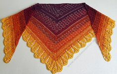 """This pattern is available as a free Ravelry download Erigeneia means """"Early-born"""" and is an epithet to the greek goddess Eos - the goddess of the Dawn. Worked in that lovely gradient yarn I couldn't help but think of a sunrise. That's where the shawl got its name from :-)"""