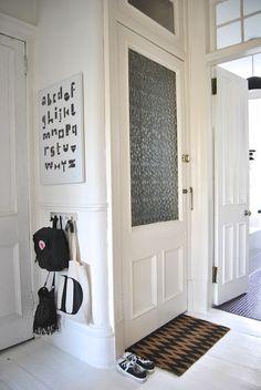 Love the child-sized coat rack and the door mat - Model Home Interior Design Nordic Interior, Interior And Exterior, Entry Hallway, Entryway, Foyer, Marimekko, Mudroom, My Dream Home, Interior Inspiration