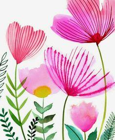 70 Ideas flowers acuarela illustration floral for 2019 Art Floral, Motif Floral, Floral Patterns, Floral Wall, Watercolor Cards, Watercolor Flowers, Watercolor Paintings, Watercolors, Watercolor Wallpaper