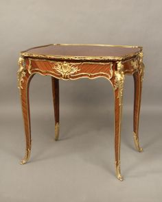 A Magnificent Late 19th Century Louis XV Style Gilt Bronze Mounted Parquetry Lamp Table  By François Linke