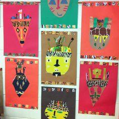 African Paper Masks- 1st Grade- Multicultural Art (art teacher: v. giannetto)
