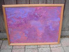 """PURPLE RAIN"" - 43 x 33 cm - houten kader - Acrylverf - Eigen werk-Own work !! Abstract painting - Made by MIK (miek de keyser - Ranst - Belgium)"
