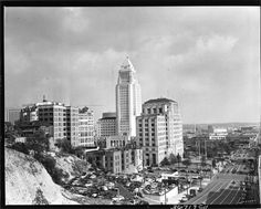 Los Angeles City Hall and the Civic Center District as seen from Bunker Hill, 1940's.