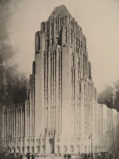 Fisher Building, Detroit, Michigan  Sketch study by American delineator Hugh Ferriss
