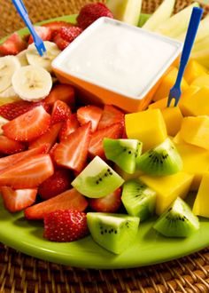 Yogurt dips for fruit are always popular as a sweet snack at parties, you will love this brown sugar, and vanilla scented yogurt dip. Strawberry, banana, mango, kiwi, melon, and nectarines are all great fruits to dip and this is a very healthy recipe too.