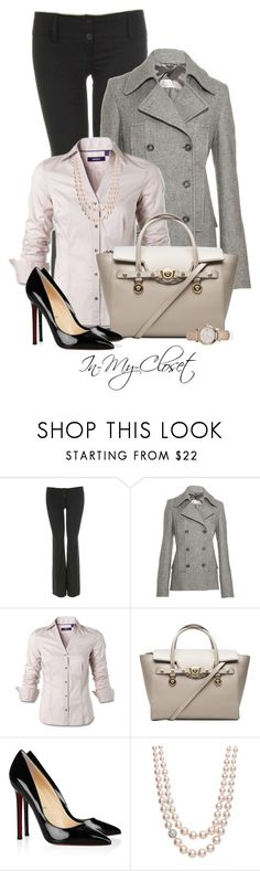 """Back To Work"" by in-my-closet ❤ liked on Polyvore featuring Maison Margiela, Versace, Christian Louboutin, Jon Richard, Burberry, pointed-toe pumps, pearl necklaces, pea coats and oversized watches"