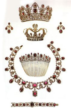 Replica Parure of the French Crown Jewels, France (19th c.; from top, Tiara, Earrings, Crown, Tiara-Comb, Necklace, Bracelet; garnets, white sapphires). Originals in rubies and diamonds.