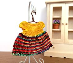 Miniature hand knitted Rainbow dress for 2.5 inch doll by AnnaToys on Etsy