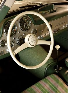 interior of a 1955 Mercedes-Benz alloy-body Gullwing  Inside Ralph Lauren's Garage | Vanity Fair